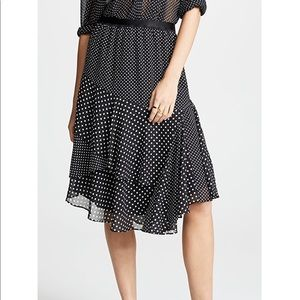 NWT Joie Deshay Caviar Polka Dot Ruffle Skirt M